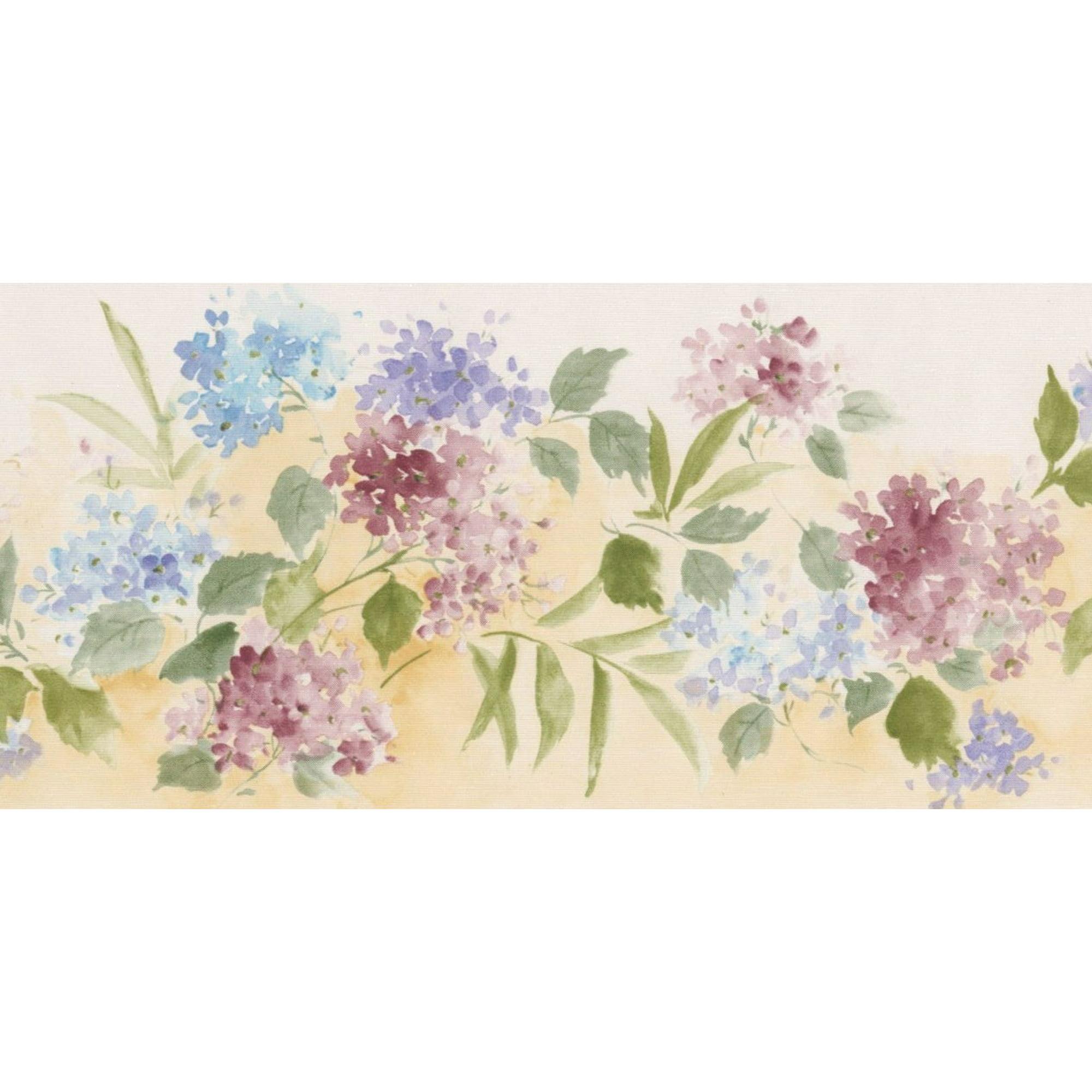 Pink Blue Flowers Floral Wallpaper Border Retro Design Roll 15 X