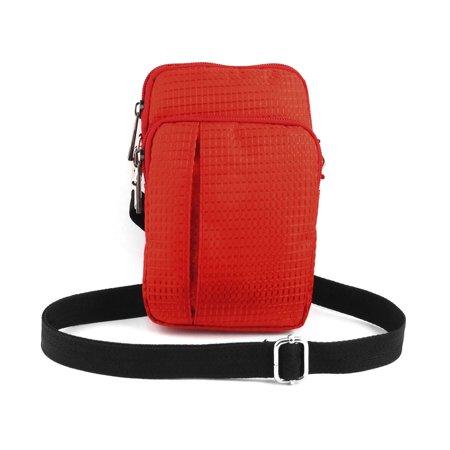 Portable Checked Vertical Holder Shoulder Bag Pouch Red For Smartphone Mp4 Keys