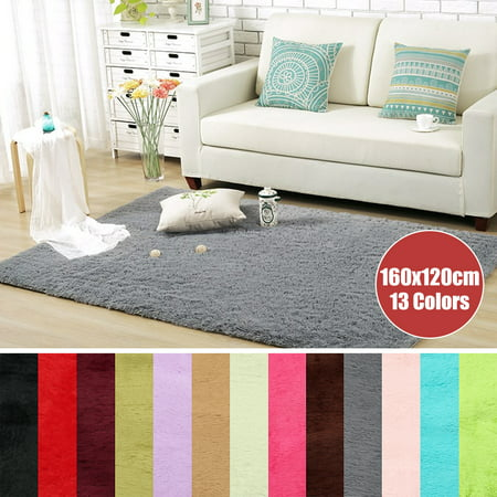 Clearance 60x120cm & 160x120cm 13 Colors Modern Soft Fluffy Floor Rug Anti-skid Shag Shaggy Area Rug Bedroom Dining Room Carpet Yoga Mat Child Play Mat Winter (Best Color Carpet For Selling A House)