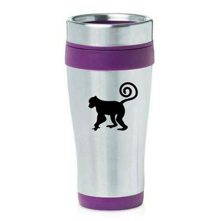 16Oz Insulated Stainless Steel Travel Mug Monkey  Purple   Mip