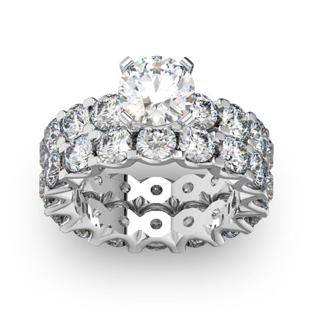 0cb6e0ce9f6 SuperJeweler - SuperJeweler 14k White Gold 9ct. Diamond Eternity Engagement  Ring and Matching Band with 1 1 2ct. Clarity Enhance - White I-J -  Walmart.com