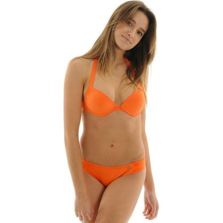 Raisins Junior's Mango Orange Push Up Underwire Halter Swimsuit 2 Piece Set