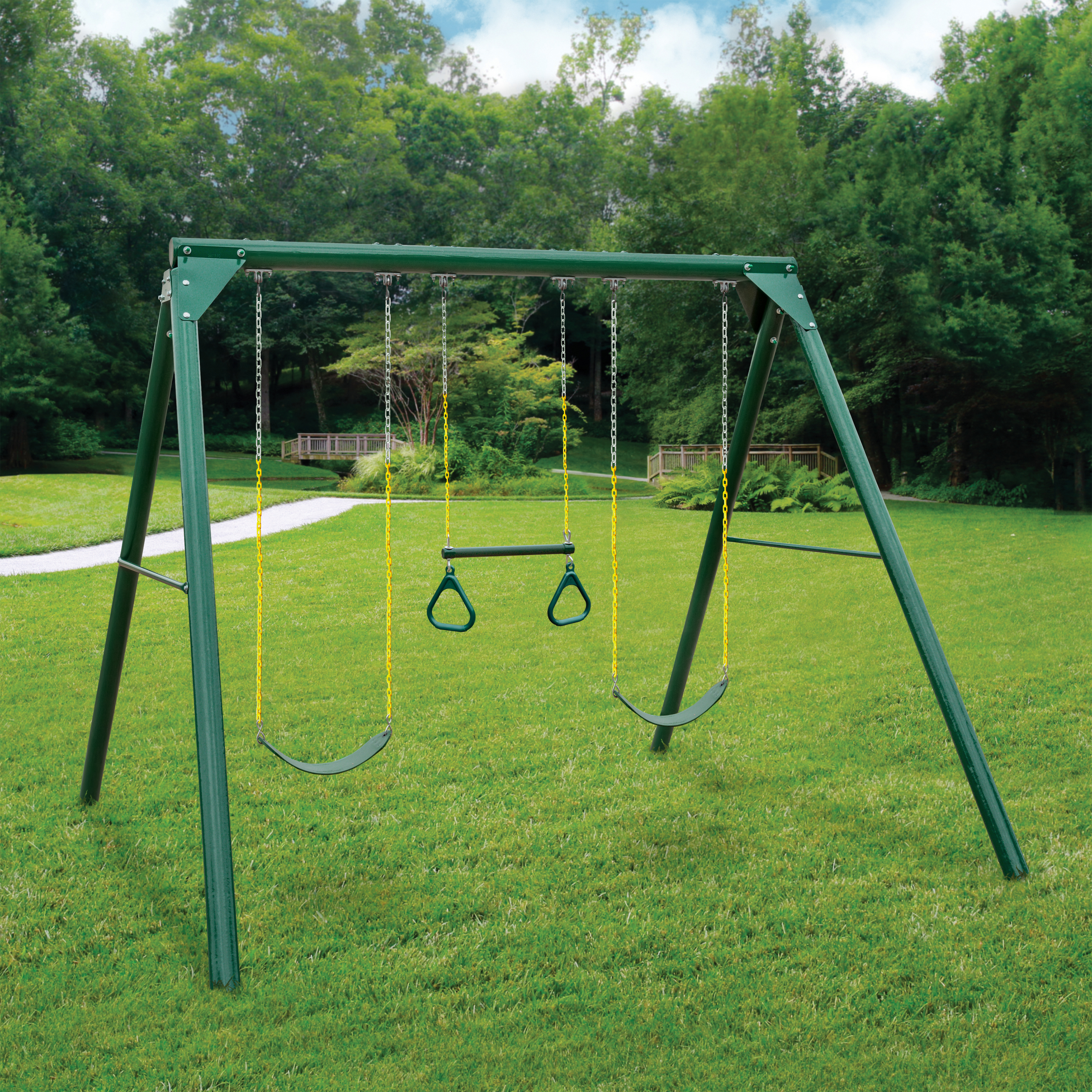 Gorilla Playsets Roundabout Wooden Swing Set with Timber Shield™ Posts