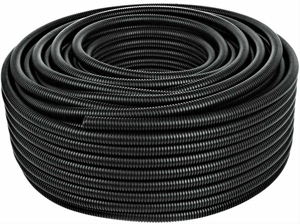 1//4 50Ft Split Wire Loom Polyethylene Corrugated Tubing Conduit Protect Delicate Cabling Management Sleeve Flexible Black