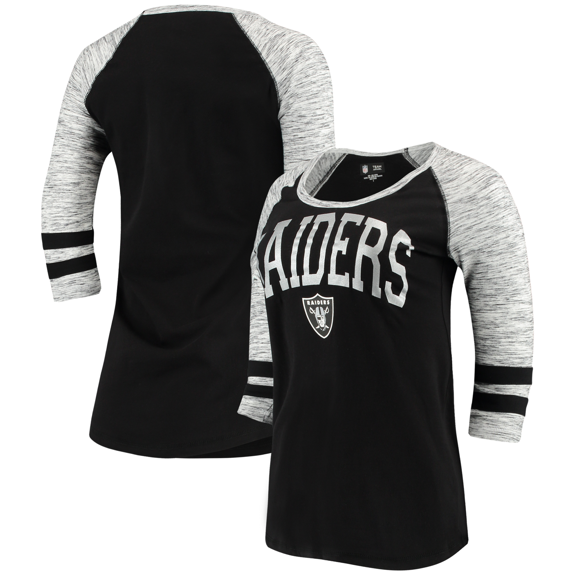 Oakland Raiders 5th & Ocean by New Era Women's Athletic Space Dye 3/4-Sleeve T-Shirt - Black