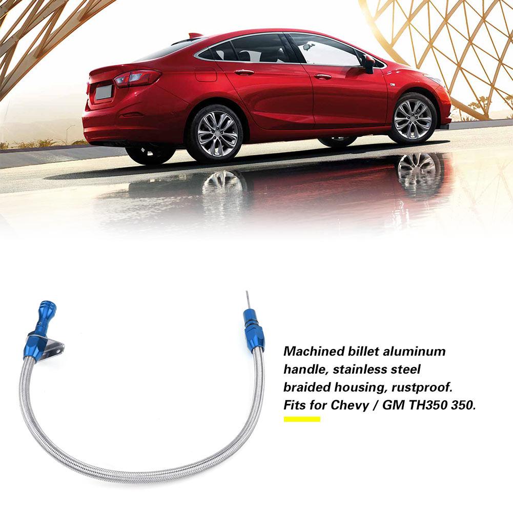 Car Oil Dipstick,540mm Flexible Stainless Steel Transmission Dipstick for TH350 350 Blue