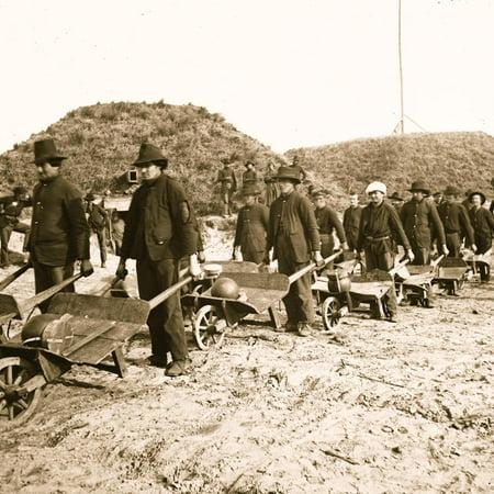 Savannah, Ga., vicinity. Sherman's troops removing ammunition from Fort McAllister in wheelbarrows Print Wall
