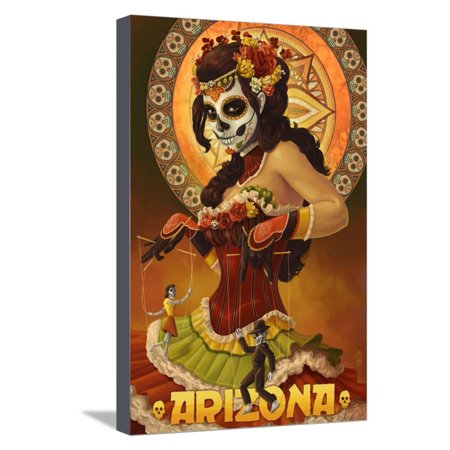 Arizona - Day of the Dead Marionettes Stretched Canvas Print Wall Art By Lantern (Day Of The Dead Artwork For Sale)