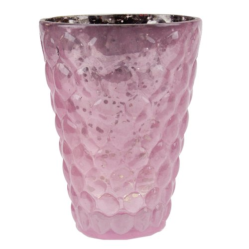 """Set of 4 Purple and Silver Textured Mercury Glass Decorative Votive Candle Holders 4.5"""""""