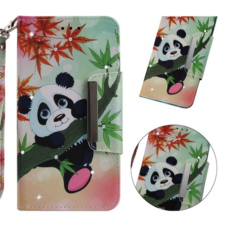 Leather Bamboo - Samsung Galaxy A6+ 2018/ A6 Plus 2018/A9 Star Lite/J8 2018 Case, Allytech 3D Bling Crystal Rhinestone Slim PU Leather Flip Cover Stand Protective Book Cover Shell, Panda Bamboo
