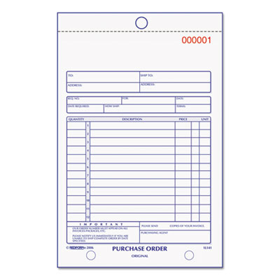 Purchase Order Book, Bottom Punch, 5 1 2 x 7 7 8, 3-Part Carbonless, 50 Forms, Sold as 1 Each by
