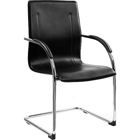 Chrome Framed Leather Guest and Reception Waiting Room Chair, - Retention Leather