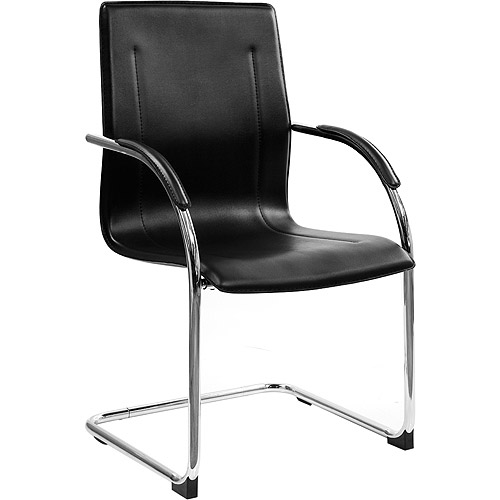 Chrome Framed Leather Guest and Reception Waiting Room Chair, Black