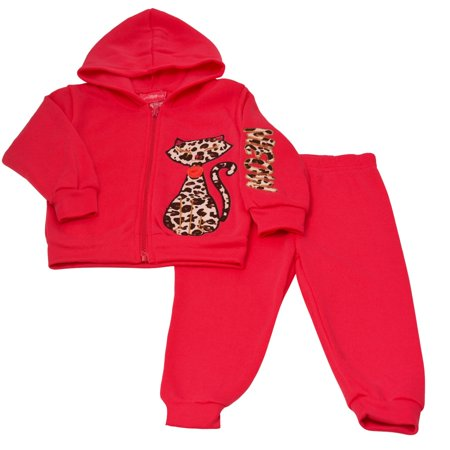 Girls Pink Little Girls Red Cat Detail Hooded Top 2 Pc Pant Outfit - Cats Outfit