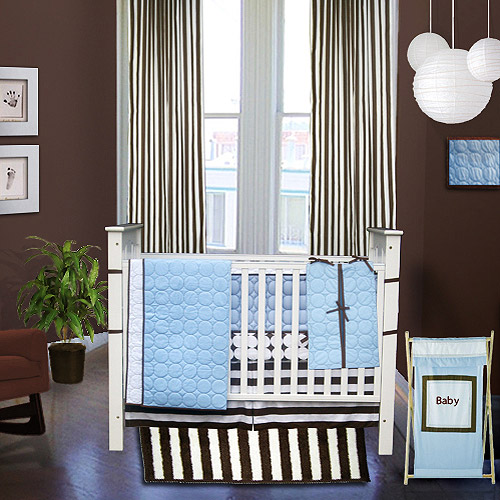 Ticklicious - Quilted Circles 6-Piece Crib to Toddler Set, Blue/Brown