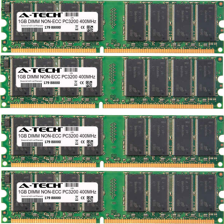 4GB Kit 4x 1GB Modules PC3200 400MHz NON-ECC DDR DIMM Desktop 184-pin Memory Ram