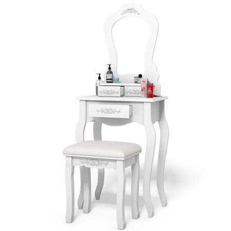 Ktaxon Vanity Wood Makeup Dressing Table Stool Set Bedroom with Mirror & 3 Drawers Girls Women Bedroom Makeup Table White ()