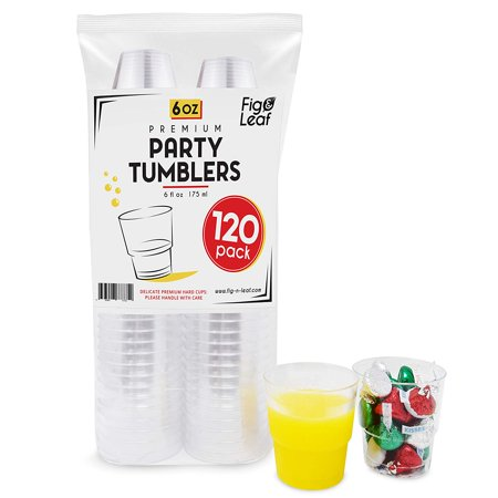 (120 Pack) Premium Hard Plastic 6 OZ Party Cups l Old Fashioned Tumblers Crystal Clear 6-Ounce l Top Choice for Catering Wedding -