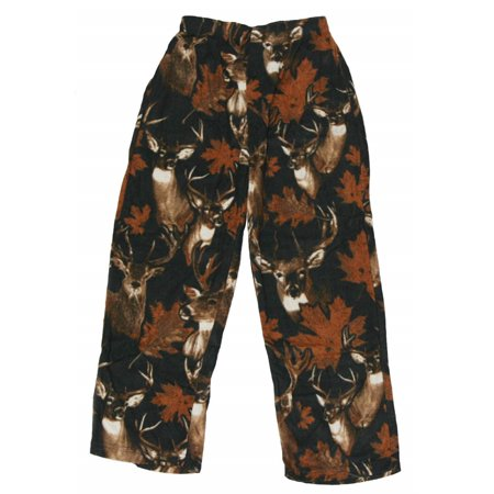 Fun Boxers Men's Lounge Pajama Bottoms Polar Fleece Pants (Large, Camo)