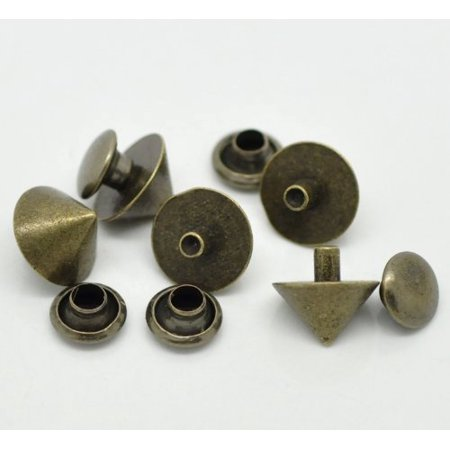 - 48 Sets Antiqued Brass Rivet Studs Spots 7x4mm Punk Gothic or Leather Work
