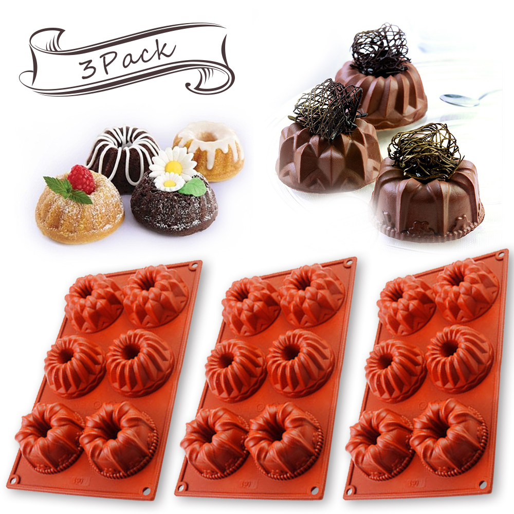 [3 Pack] 6-Cavity Food Grade Silicon Mold,Vermilion Flower Jelly Cake Mold Pudding Mold and Muffin Cups and bakeware Baking Pan for Halloweens' Eve IClover