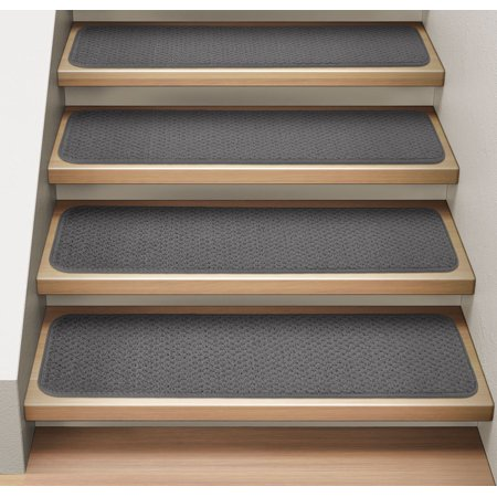 Set Of 12 Attachable Indoor Carpet Stair Treads Gray 8 In X 23 5