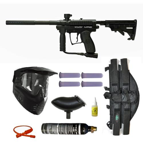 Spyder MR100 Pro Paintball Marker Gun 3Skull 4+1 9oz Mega Set by