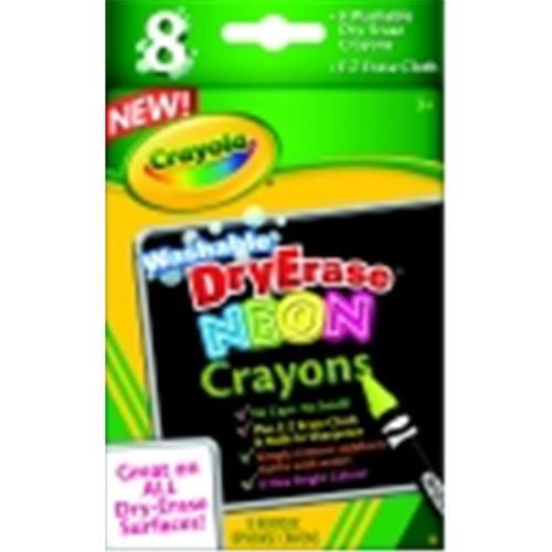 Crayola Dry-Erase Washable Crayon Marker Set - Assorted Neon Color, Set - 8