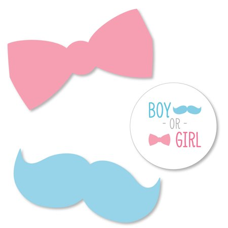 Gender Reveal - Shaped Party Paper DIY Cut-outs - 24 Count - Reveal Parties
