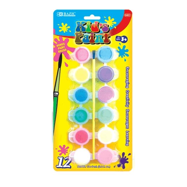 Bazic Products 3401-24 BAZIC 12 Color 6ml Kids Paint with Brush Case of 24