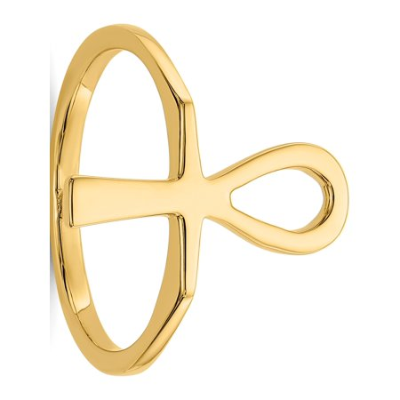 14k Yellow Gold Polished Ankh Egyptian Cross Ring