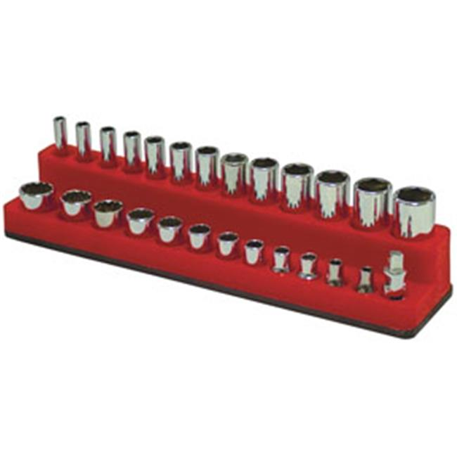 MTS-721 0.25 in. Drive Shallow & Deep 26-Hole Magnetic Socket Organizer, Red