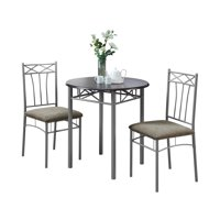 Monarch Dining Set 3Pcs Set / Cappuccino / Silver Metal