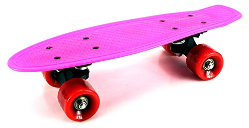"VT Mini Smooth Ride Cruiser Complete 17"" Banana Skateboard w  54mm Wheels, ABEC-7 Bearings (Pink) by Velocity Toys"