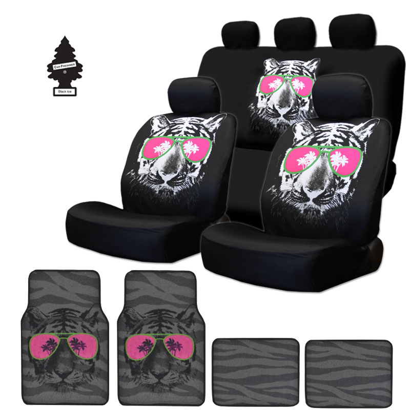New Black Fabric Large Cool Tiger Logo Front And Rear Car