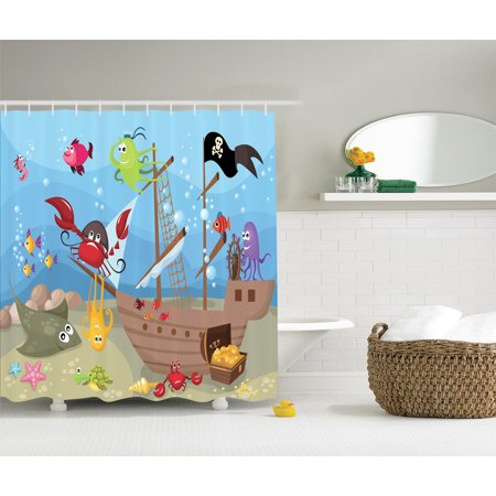 Ships Ahoy Pirate Ship Pool (Baby Kids Ocean Octopus Treasure Sunken Ship Pirate Sailboat Ahoy Shower Curtain )