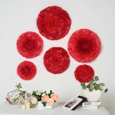 BalsaCircle 6 pcs 7 9 11-Inch Carnations Large Paper Flowers - Wall Backdrop Party Wedding Accessories Decorations Supplies SALE ()