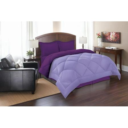 2-Piece Reversible Microfiber Comforter Set Alternative Duvet with Pillow Shams -King/Cal King, Lilac/Purple