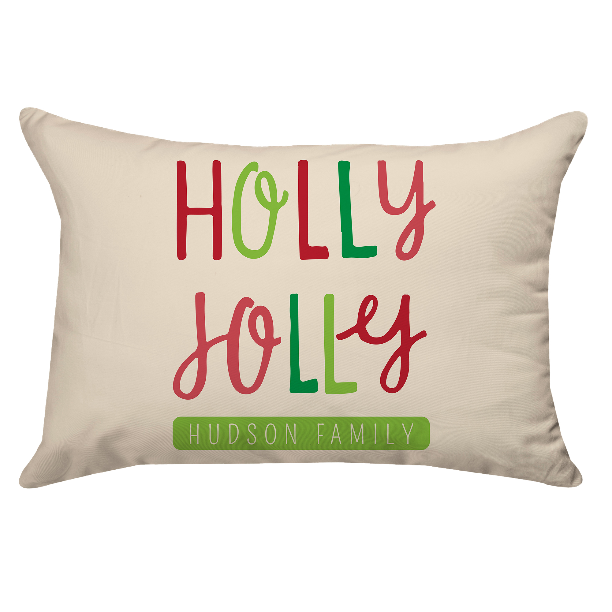 Personalized Holly Jolly Type Poplin Throw Pillow 14 X 20