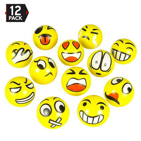 Buy Stress Balls In Bulk (2.5 Inches Emoji Stress Balls, 12 Funny Face Squeeze and Bouncy Balls Bulk, Soft Stress Relief Balls Toys for Kids Emoji Party Favor, Goodie Bag Fillers, Office Props for Adults)