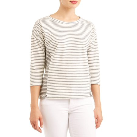 Women's 3/4 Sleeve Scoopneck Striped T-Shirt