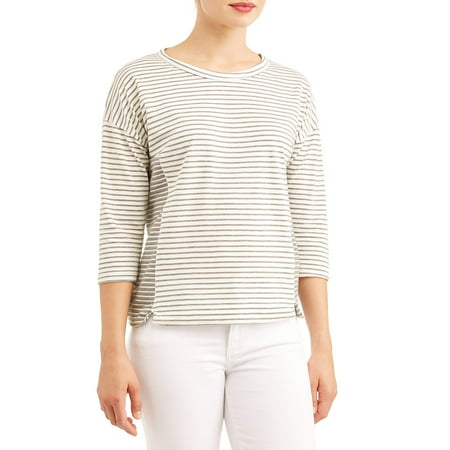 Women's 3/4 Sleeve Scoopneck Striped