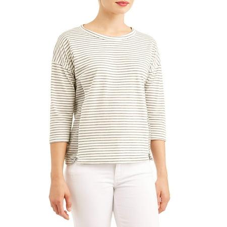 Women's 3/4 Sleeve Scoopneck Striped T-Shirt