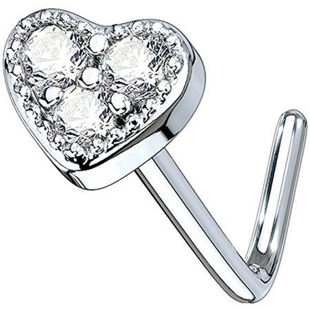 BodyJ4You 20G Nose Ring L-Shape Bend Stud Clear CZ Heart Surgical Steel Nostril Body Piercing Body Piercing Surgical Tools