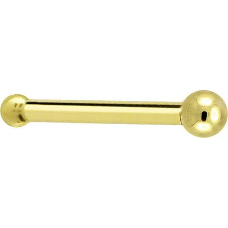 14k Tanzanite Nose Bone (Solid 14k Yellow Gold 1.5mm Ball Nose Bone 18 Gauge)