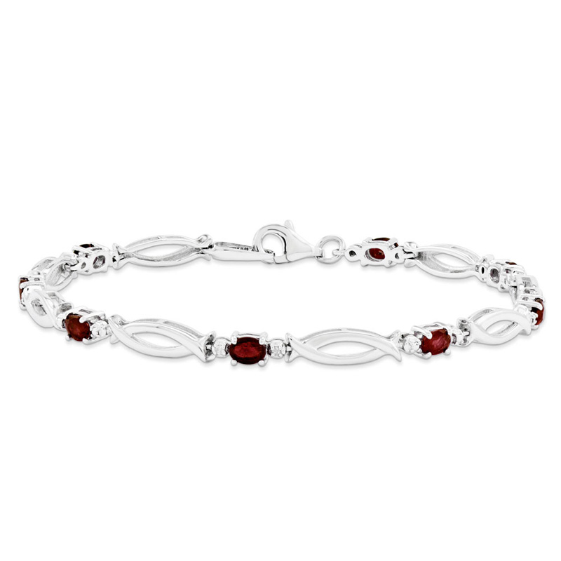 Sterling Silver Composite Ruby and Diamond Bracelet by Kevin Jewelers
