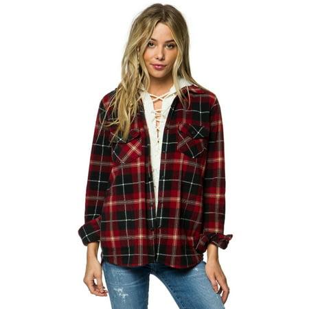 826427148 O'Neill - O'neill Womens Zuma Superfleece Flannel: Black - Walmart.com