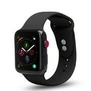 Apple Watch Soft Silicone Bands 42mm/44mm, Dual Locking Stud Wristband for iWatch Apple Watch Series 1/2/3/4/Nike+ - Black