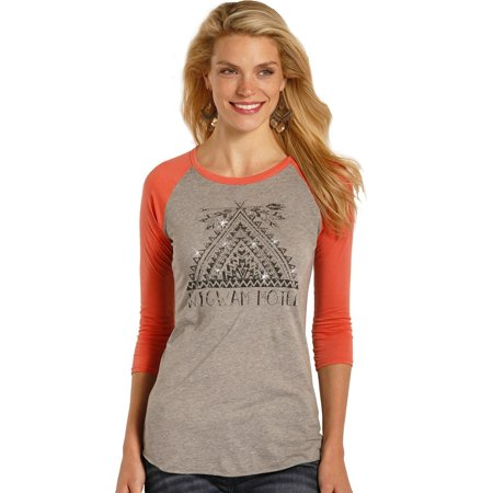 Cereal Baseball (Rock & Roll Cowgirl Women's And Coral Wigwam Motel Baseball Tee - 48T3532 )
