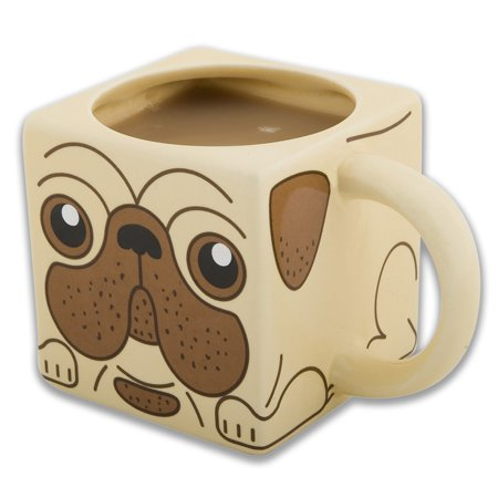 Pug Mug Square Ceramic Cup 12 oz. Dog Animal Pet Cute Coffee Tea Novelty